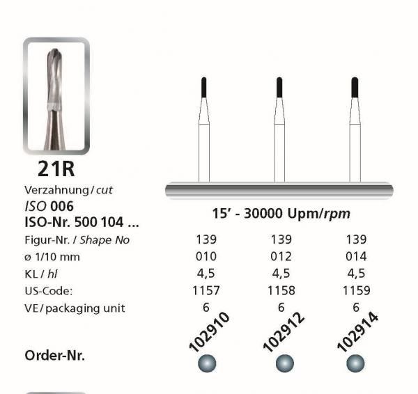 Hartmetallbohrer Figur 21R Zylinder rund - Schaft 104 HP
