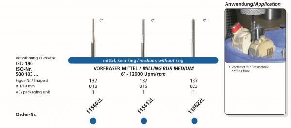 Frästechnik - Vorfräser mittel / medium 0° in in den Durchmessern 010, 015 und 023