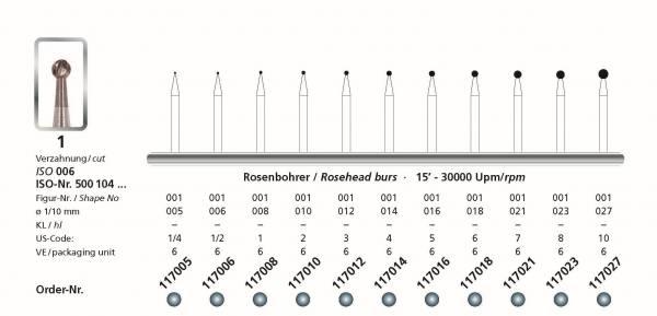 Hartmetall Rosenbohrer von 005 bis 027 Schaft HP - 104 VPE 6 Stück Rosenbohrer in den Kopfgrössen 005, 006, 008, 010, 012, 014, 016, 018, 021, 023, 027 - Schaft 104 Handstück