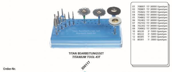 Titan Bearbeitungsset bestehend aus 14 Instrumente + Tray