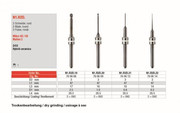 2-Schneider, rund zur Bearbeitung von ZrO2 (Hybrid-Keramik)