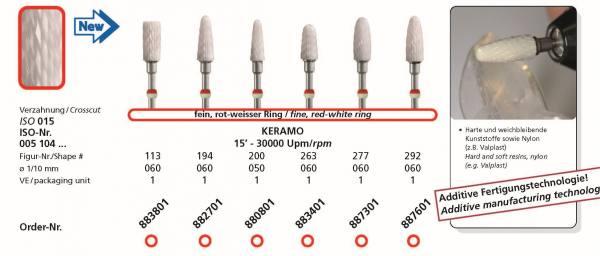 Kermaikfräse DIADUR KERAMO - Harte und weichbleibende Kunststoffe, Nylon wie Valplast - Additive Fertigungstechnologie