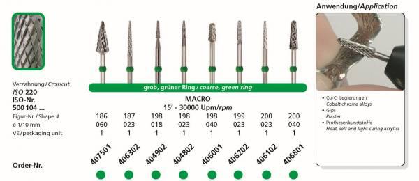 Hartmetallfräsen DIADUR MACRO - Einsatzgebiete: Co-Cr, Gips, Prothesenkunststoff