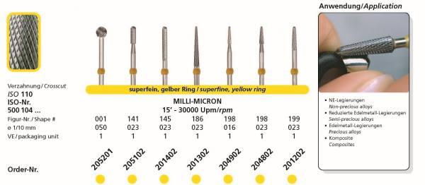 Hartmetallfräsen DIADUR MILLI-MICRON - Einsatzgebiet; Edelmetall-Legierungen, reduzierte Edelmetall-Legierungen NE-Legierung, Komposite