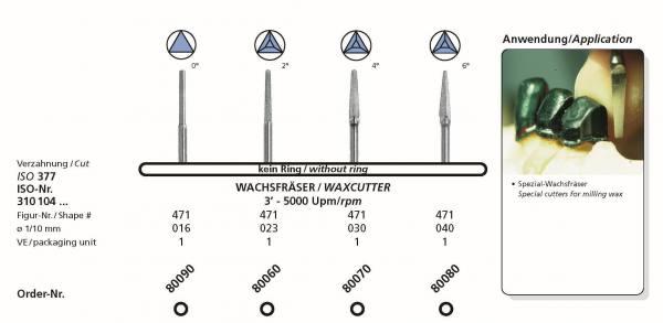 Frästechnik Wachsfräser - in den Konizitäten 0° , 2°, 4°, 6° Schaft 104