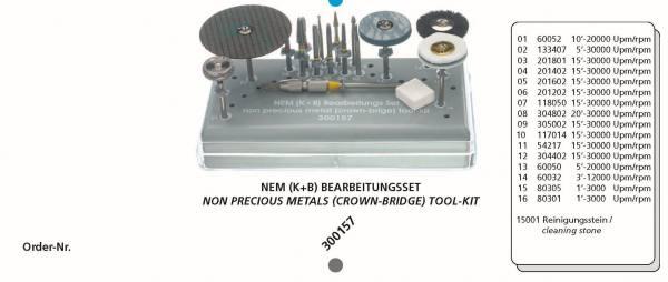 NEM /K+B) Bearbeitungsset bestehend aus 16 Instrumente + Reinigunsstein + Tray