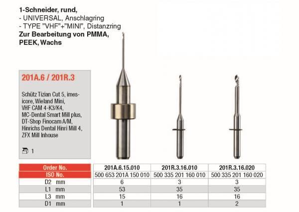 2-Schneider flach - Universal, zur Bearbeitung von ZrO, PMMA, PEEK und Wachs