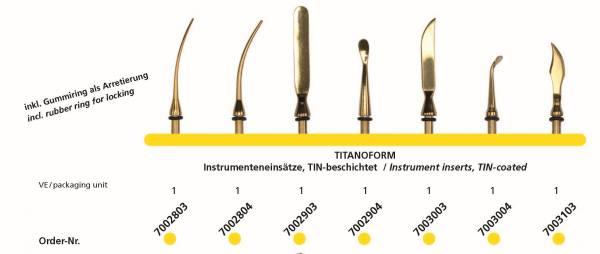 Modelierinstrumente mit TIN-Beschichung - Aufsätze auswechselbar - 7 Figuren zur Auswahl