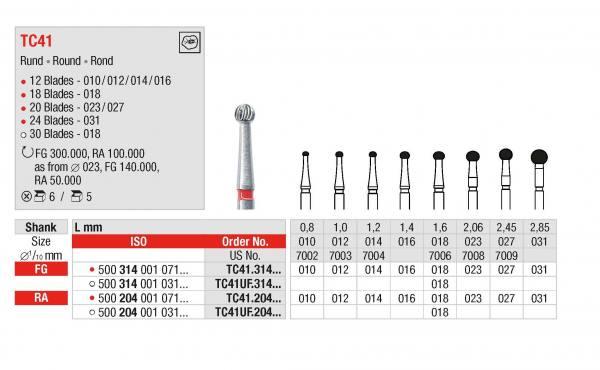 Hartmetall-Finierer TC41 Kugel - Schaft 204 / RL / WST