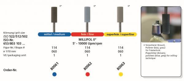 Frästechnik MILLIPOL - Polierer 0° - medium, fein, superfein - Durchmesser 060