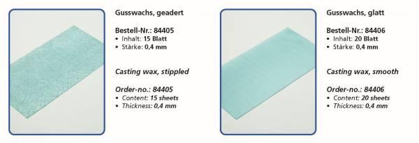 Wachsflexetten Gusswachs, geadert Inhalt 15 Blatt - Gusswachs, glatt - Inhalt 20 Blatt - Stärke 0,4 mm