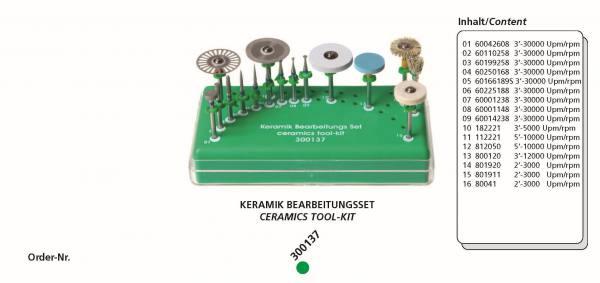 Keramik Bearbeitungsset bestehend aus 16 Instrumente + Tray