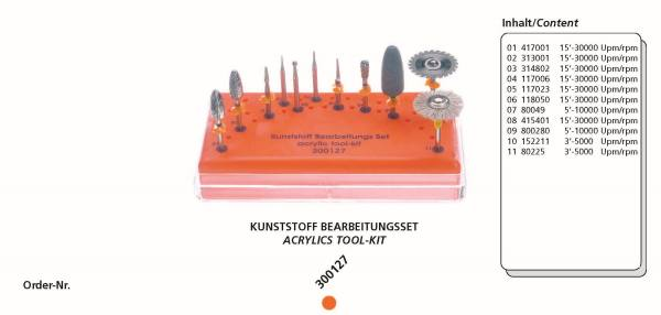 Kunststoff Bearbeitungsset bestehend aus 11 Instrumente + Tray