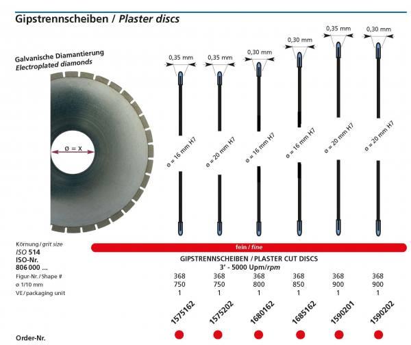 Gipstrennscheiben galvanische Diamantierung versch, Durchmesser