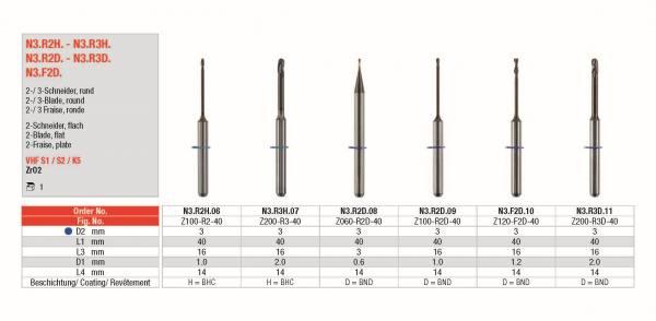 2- / 3 -Schneider rund und 2-Schneider flach - für die Bearbeitung von ZrO2 (Hybrid-Keramik)