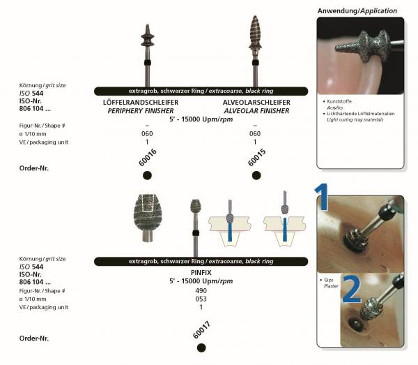 Sonderdiamantschleifer - Löffelrandschleifer , Alveolarschleifer, Pinfix im Hnadstück-Schaft HP- 104