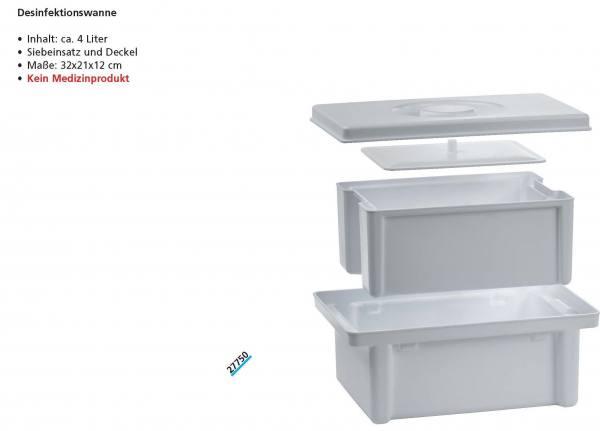 Desinfektion - Instrumentenwanne Volumen 4,0 Liter, mit Sieb und Deckel