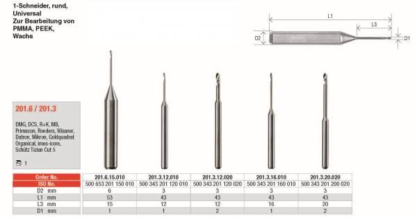 1-Schneider rund - Universal, zur Bearbeitung von PMMA, PEEK und Wachs