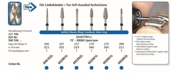 Hartmetallfräsen DIADUR QUATTRO für Linkshänder - Einsatzgebiet: Co-Cr, NE-Legierung, Edelmetall-Legierung, reduzierte Edelmetalllegierung