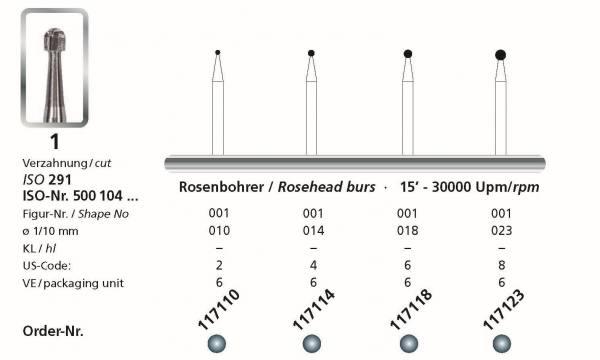 Hartmetall Rosenbohrer Kopfgrössen 010, 014, 018, 023 - Schaft HP 104