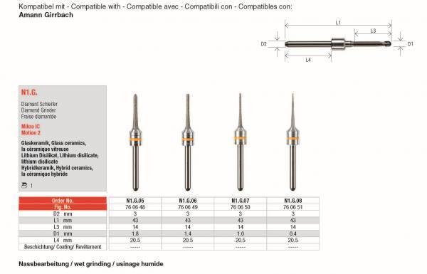 Diamant-Schleifer - Zur Bearbeitung von Glaskeramik, Lithium Disilikat, Hybrid-Keramik
