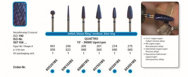 Hartmetallfräse BLUE STAR QUATTRO - Co-Cr- Legierung, NE-Legierung, Edelmetall-Legierung, reduzierte Edelmetall-Legierungen