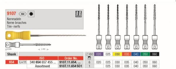 Nervnadeln erhätlich in den ISO-Grössen 020, 025, 030, 040, 050, 060
