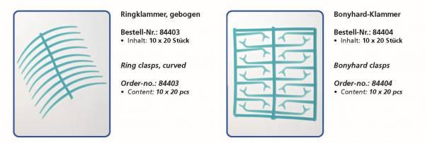 Wachsflexetten Ringklammer gebogen, Bonyhard-Klammer - Inhalt 10 x 20 Stück