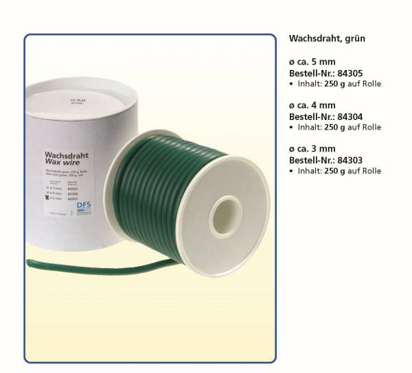 Wachsdraht Farbe Grün Ø 5,0, 4,0, 3,0, 2,5, 1,5 mm auf Rolle je 250 g
