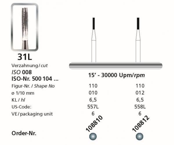 Hartmetallbohrer Figur 31L Zylinder - Schaft 104 HP
