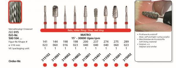 Hartmetallfräse DIADUR MATRO - Prothesenkunststoffe, weichbleibende Kunststoffe, Valplast