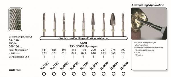 Hartmetallfräse DIADUR STAR - Einsatzgebiet; Edelmetall. extraharte Verblendungskunststoffe, Titan