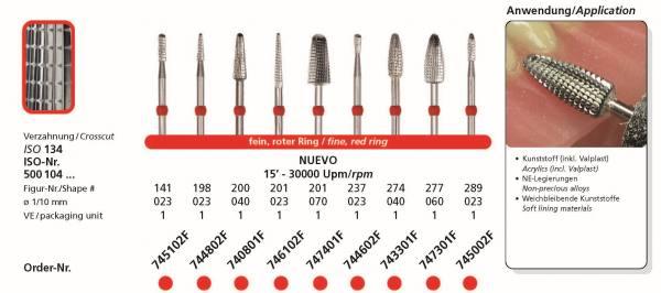 Hartmetallfräse DIADUR NUEVO - Kunststoff, Valplast, weichbleibende Kunststoffe, NE-Legierungen
