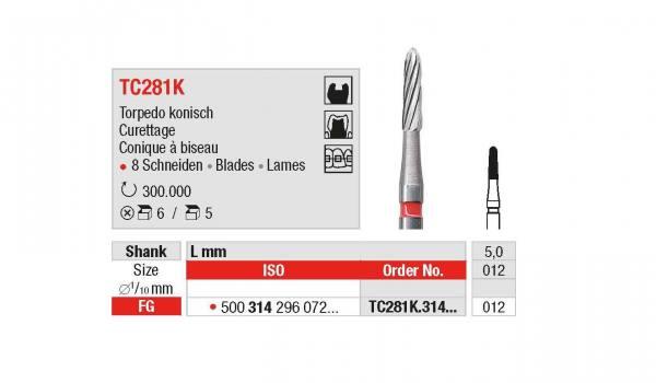 Hartmetall-Finierer TC281K Torpedo konisch Ø 012, Schaft 314 / FG