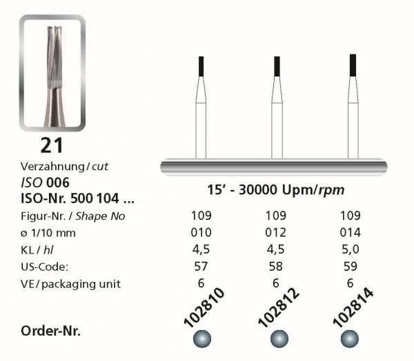 Hartmetallbohrer Figur 21 Zylinder - Schaft 104 HP