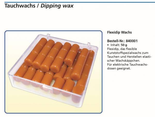 Flexidip, das flexible Kunststoffspezialwachs zum Tauchen und Herstelen elastischer Wachskäppchen. Für elektrische Tauchwachsdosen geeignet.