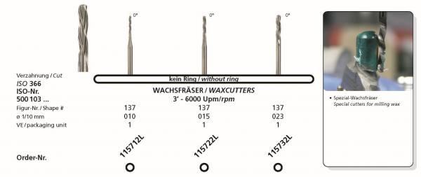 Frästechnik Wachsfräser - 0° in Durchmessern 010, 015 und 023