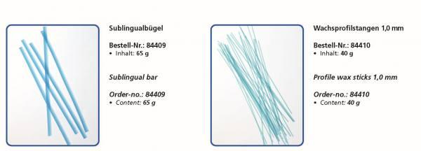 Wachsflexetten Sublingualbügel (Inhalt 65 g) - Wachsprofilstangen 1,0 mm (Inhalt 40 g)