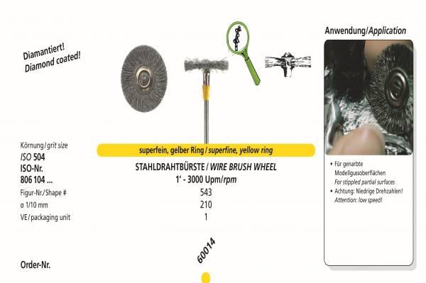 Spezialinstrumente Stahlbürste für genarbte Modellgussoberflächen - monttiert auf Schaft HP - 104 - Ø 210 1/10 mm