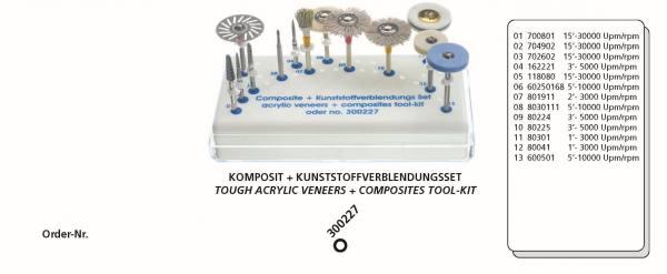 Komposit + Kunststoffverblendungsset bestehend aus 13 Instrumente + Tray