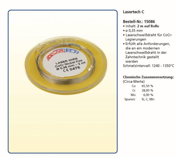 Laserdraht - Lasertech C - 2 m auf Rolle Ø 0,35 mm