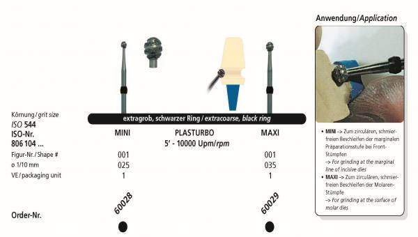Sonderdiamantschleifer - PLASTTURBO Mini und Mxi im Schaft HP 104
