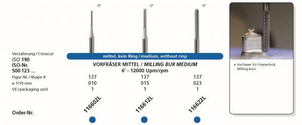 Frästechnik 0° im 3,0 mm Schaft Vorfräser medium / mittel