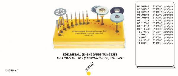 Edelmetall (K+B) Bearbeitungsset bestehend aus 14 Instrumente + Tray
