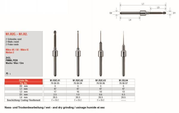 2-Schneider, rund zur Bearbeitung von ZrO2, PMMA, PEEK, Wachs Kompatibel mir Amann Girrbach - Systeme: Mikro 4X / 5X und Mikro IC