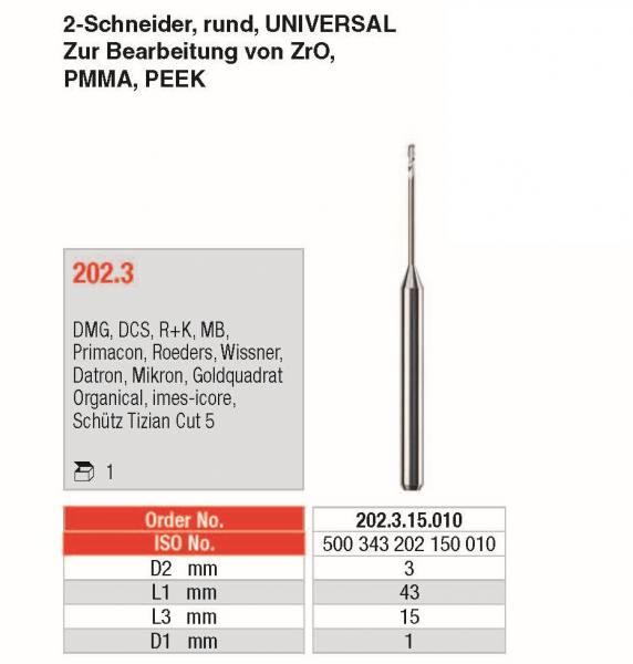 2-Schneider, rund, DLC beschichtet UNIVERSAL - zur Bearbeitung von ZrO, PMMA, PEEK