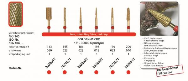 Hartmetallfräse DIADUR GOLDEN MICRO - NE-Legierung, Co-CR, Edelmetall, reduzierte Edelmetalle, Komposite