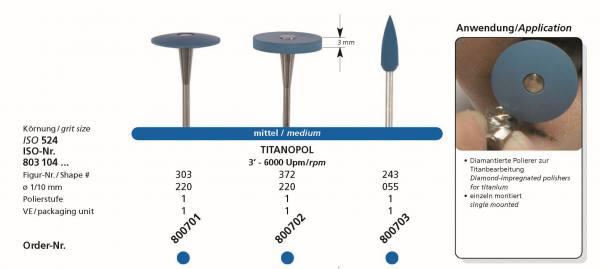 Spezial Polierer TITANOPOL - diamantierter Polierer medium / mittel für die Titanbearbeitung