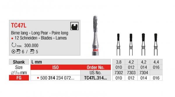 Hartmetall-Finierer TC47L Birne lang - Schaft 314 / FG - Ø 010, 012, 014, 016