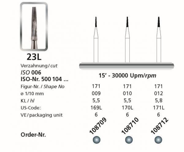 Hartmetallbohrer Figur 23 L Konus flach lang - Schaft 104 HP